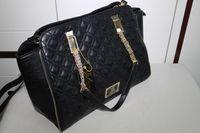 2014 new summer  zipper leather handbags bolsas kardashian kollection KK double quilted bowler women handbag shipping