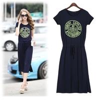 Dresses Hot Sale Vestidos Casual Free Shipping 2014 Fashion Size Casual Short Sleeve Long Dress Women Summer Sport Free Shipping