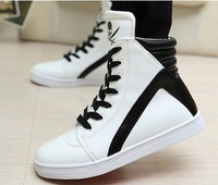 [Free shipping] 2014 New arrival fashion male high-top hip-hop casual high skateboarding shoes flats big size men's shoes