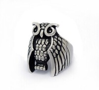 Hot Sale Men Jewelry Stainless Steel Hip Hop Ring Punk Style Owl Biker Rings Charm Free Shipping