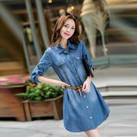 Vestido New Hot Sale Cotton Oxford Straight Knee-length Full Autumn Dress In Autumn 2014 Original Korean Fashion Cowboy Dress