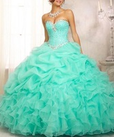 In Stock New 2014 Sweetheart Strapless With beaded Ball Gown Quinceanera Dresses Sleeveless  vestidos de 15 anos Size 2-18 DH7