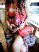 2014 new foreign trade color graffiti geometric thin cotton scarf bohemian fringed shawl scarf sunscreen---JOLINA SHOP