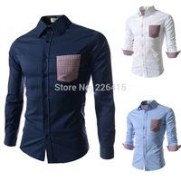 2014 Camisa social masculina long sleeve patchwork men shirt mens dress shirts slim fit casual shirt