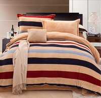 Coral fleece 4pcs/ set thickening flannel piece bedding set velvet bedding home textile