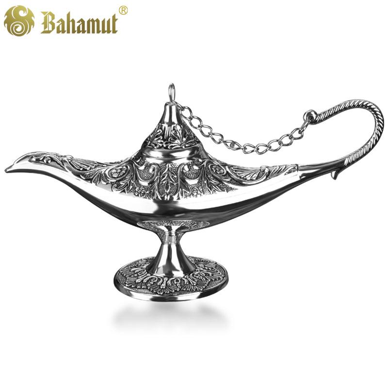 Bahamut coleccionáveis Lamparina Silver Tin Pot Trumpet Legend Aladdin Magic Lamp Genie Luz Decoração de metal(China (Mainland))