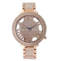 High quality Diamond Fashion GOLD ROSE SILVER luxury rhinestone WOMEN DRESS quartz Jewelry Bracelet stainless steel WristWatch