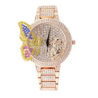 SUPER Fashion Diamond GOLD ROSE SILVER LUXRUY rhinestone WOMEN DRESS quartz Jewelry Bracelet stainless steel  Female WristWatch