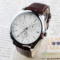 Drop shipping 1pcs wholesale 2014 brand LOGO 100% black belt watch watches white men boy gift