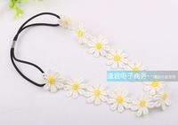 2014 new Wholesale and Retail fashion daisy flowers  lace elastic headband hair accessories 12pcs/lot