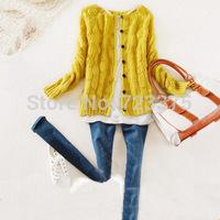 2014 New South Korea brand Womens fashion knitting Sweater cardigan female bubble buttons Lady Cardigan sweater Long sleeve coat