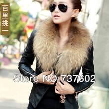 2014 slim short design zipper PU leather coat fox fur motorcycle leather clothing female(China (Mainland))