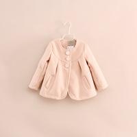 children girl o-neck wool blends jackets outerwear 2-7 years