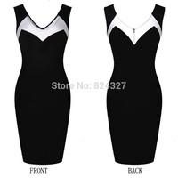 Wholesale Hot Sale New Fashion O-neck Sleeveless Patchwork Knee-length Party Evening Women Dresses Size S M L XL XXL