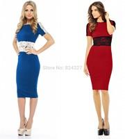 Wholesale New Fashion O-neck Short Sleeve Lace Pencil Party Evening Women Dresses Size S M L XL XXL