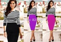 Wholesale Hot Sale New Fashion O-neck Patchwork Knee-length Party Evening Women Work Bodycon Pencil Dresses Size S M L XL XXL