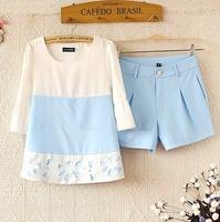 Free shipping sleeve chiffon shirt shorts women's casual set mm loose twinset  Large size T-shirt