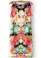 Sexy Summer Dress 2014 Newest Sleeveless Vintage Mini Dress One piece Women Flower Print Slim Tank Casual Dress Sundress