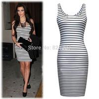 Wholesale Hot Sale Bandage Bodycon Dresses O-neck Stripe Party Evening Sexy Women Work Dresses Size S M L XL XXL