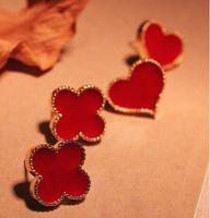 YBB C8019 Peach Heart Clover Oil Drip Phnom Penh Studs Earrings Korea Jewelry Wholesale