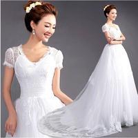 Fashion New Sexy V-neck puff sleeve Lace wedding dress 2014 Princess Tailing mermaid wedding dresses white vestido de noiva W53