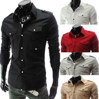 2014 Men's Fit Stylish Long Sleeve Shirts Mens Multi Pocket Shirts 5 Colors Plus Size M-2XL