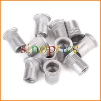 25pcs M10 Flat Head Rivet Nut Inserts Rivnut Nutsert 10mm (Silver) Free Shipping