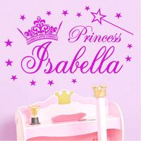 princess crown star wall sticker custom name removable wallpaper adhesive PVC room decor