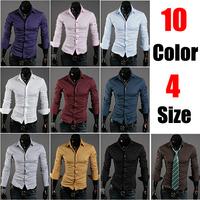 2014 Men's Fit Unique Neckline Stylish Dress Long Sleeve Shirts Mens Dress Shirts 10 Colors Plus Size M-2XL