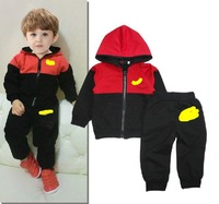 Free shipping 2014 autumn girls and boys cotton hooded jacket + pants suit children comfortable movement