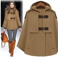 UK Brand 2014 Winter New Stylish Female Woolen Hooded Cape Coat Women Casual  Short Coat  Nibbuns Outerwear Casacos Femininos