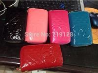 2014 Korean patent candy color female purse stone grain double zipper long hand bag wallet