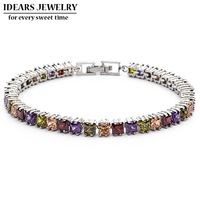 IDEARS Free shipping.18K Gold Plated Star Fashion crystal bracelets flower with Multicolor Zircon For Women Luxury IDZB0014