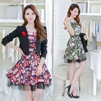 Free Shipping 2014 Autumn Women's 1328 Twinset Skirt Suits Corsage Belt