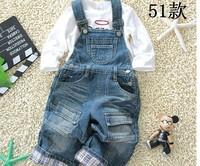 free shipping 2014 1pcs retail spring Top Quality boy denim overalls kids bib pants children casual girls bodysuit in stock