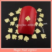 MNS536 Poker heart design metallic nail slices nail polish metal nail decoration studs supplies 1000pcs/pack