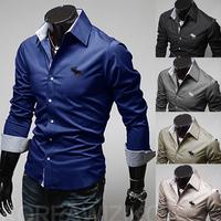 2014 Men Fitness Casual Shirt Camisetas Desinger Long Sleeve Shirts for Male Plus Size M-2XL