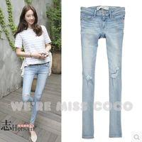 2014 Autumn MISS COCO Fashion Light Color Holes Good Shape Pencil Pants Skinny Denim Jeans for Ladies Women