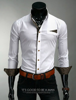2014 Mens Casual Shirts Slim Classic Leopard Decaration Long Sleeve Shirts for Men Plus Size M-2XL