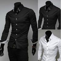 2014 Men's Business Shirts Long Sleeve Slim Men's Wear Casual Shirts for Male Plus Size M-2XL