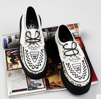 mens women's Unisex platform creeper shoes goth Punk floral creepers shoes for women & man White with Black Plus Size EU 34-43