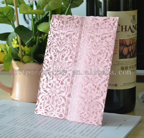 200pcs / lot cartões de casamento de corte a laser , convites de casamento com rendas , convites do casamento do laço rosa feitas na china(China (Mainland))