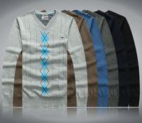 Free shipping 6 colors M-XXL 2014 new TH brand new men cotton V neck basic fashion checker sweater men knit pullover MST14004