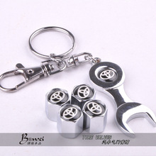 Free shipping Car Wheel Tire Valve Caps with Mini Wrench & Keychain for Toyota (4-Piece/Pack)(China (Mainland))
