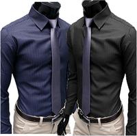 2014 Men's Stripe Stylish Casual Slim Fit Long Sleeve Dress Shirts Plus Size M-2XL