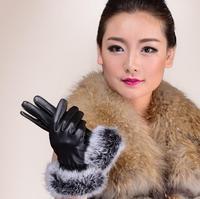 2014 Korean version of the rabbit fur gloves lambskin leather ladies gloves mouth