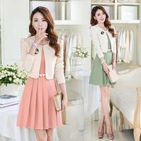 Free Shipping 2014 Autumn Women's 1353 Twinset Skirt Suits Corsage Belt