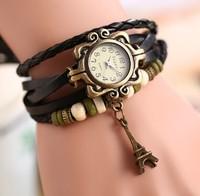 2014 new fashion High Quality Women Genuine Leather Vintage Quartz Dress Watch Bracelet Wristwatches tower  women wristwatches
