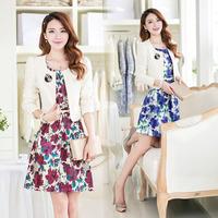 Free Shipping 2014 Autumn Women's 1352 Twinset Skirt Suits Corsage Belt
