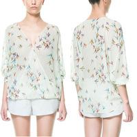 European Stylish shirt women Summer Autumn new fashion Plover bird print chiffon blouses camisas femininas v neck blusas 2014